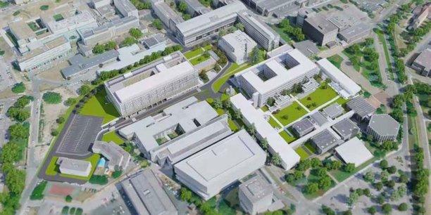 Le secteur concerné du campus Carreire au sud du CHU de Bordeaux Pellegrin. Sont concernés par le contrat blockchain le bâtiment en forme de E et le bâtiment rectangle à l'Ouest.