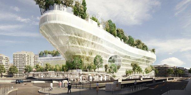 Un immeuble-pont végétalisé au-dessus du périphérique parisien. Prévu pour la porte Maillot à l'horizon 2022, le projet Mille Arbres devrait accueillir sur 10 étages et trois niveaux de sous-sol des bureaux, des logements, des commerces..., ainsi que 1.000 arbres sur les terrasses.