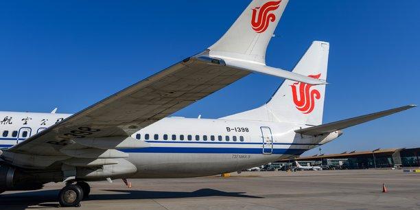 Un Boeing 737 MAX de la compagnie Air China à l'arrêt sur le tarmac de l'aéroport de Pékin, aujourd'hui lundi 11 mars 2019.