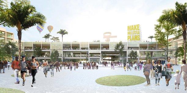 Une place du futur quartier Cambacérès, présenté comme la vitrine de Montpellier pour les 50 ans à venir