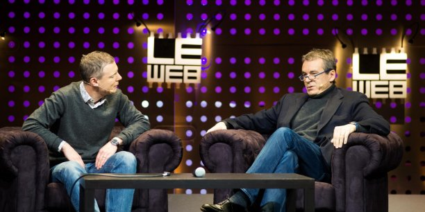 Pour Eric Scherer (à droite), il faut suivre la manière dont la nouvelle génération s'informe. @kmeron pour LeWeb12