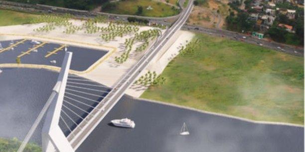 Maquette du futur pont à haubans d'Abidjan.
