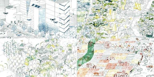 L'architecte-urbaniste Sophie Vialettes a illustré les quatre scénarios imaginés pour la métropole bordelaise par le groupe de travail du Forum urbain.