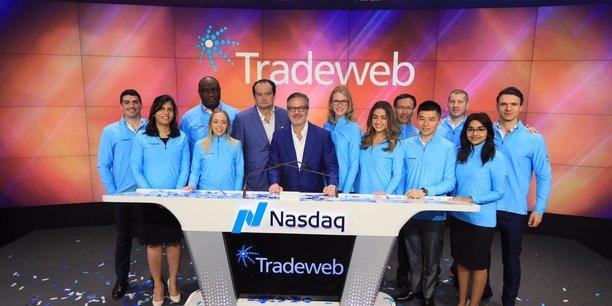 L'équipe de la plateforme Tradeweb Markets le jour de son introduction en Bourse à New York.