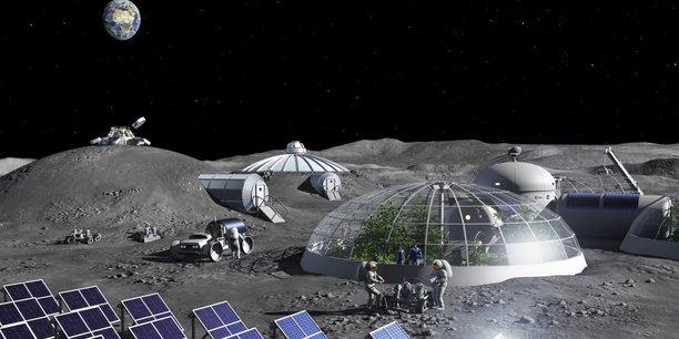 Selon l'astronaute Jean-François Clervoy, la Lune est une première étape obligatoire avant la conquête de Mars (image d'illustration de village lunaire par l'Agence spatiale européenne)