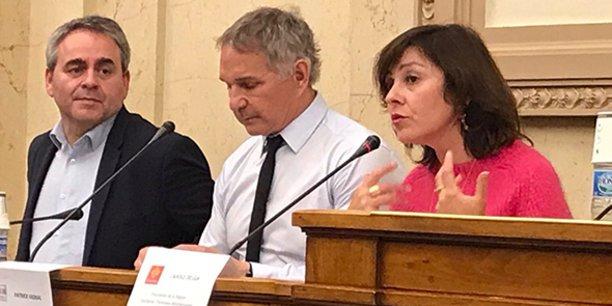Xavier Bertrand, Patrick Vignal et Carole Delga, le 10 avril 2019 à l'Assemblée nationale.