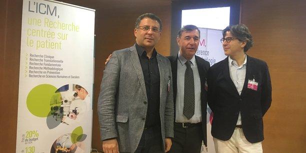 David Azria (directeur scientifique ICM), Marc Ychou (directeur général ICM), et Frédéric Bibeau (anotomopathologue)