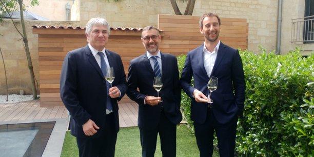 Pascal Faugere, le directeur général de la CCI Bordeaux Gironde, Rodolphe Lameyse, le directeur général de Vinexpo, et Mathieu Vanhalst, directeur commercial de Vinexpo.
