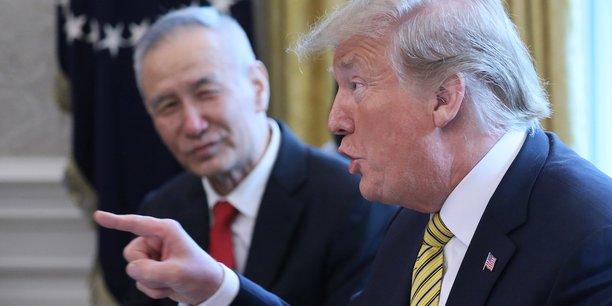Donald Trump recevant le vice-Premier ministre Liu He, négociateur en chef chinois, à la Maison-Blanche le 4 avril dernier.