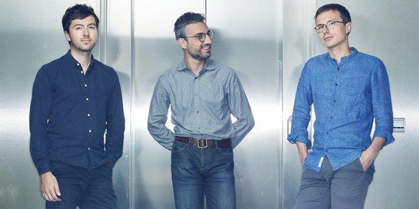 Les co-fondateurs de DNA Script (de gauche à droite: Xavier Godron, Thomas Ybert et Sylvain Gariel.