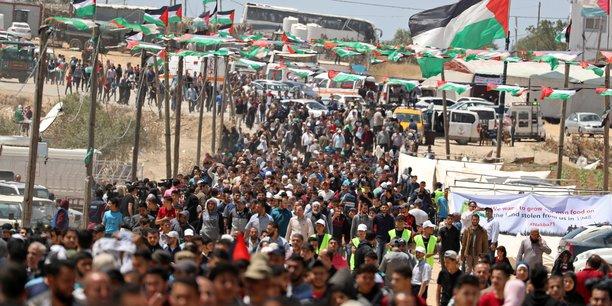 Une cinquantaine de palestiniens blesses lors de l'anniversaire de la nakba[reuters.com]