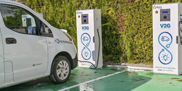 C'est à Cestas (Gironde), au siège de l'entreprise Hotravail, que les trois premières bornes V2G de France ont été installées par Dreev, une filiale d'EDF.
