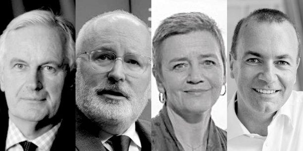 De gauche à droite : le Français Michel Barnier (68 ans) ; le Néerlandais Frans Timmermans (57 ans) ; la Danoise Margrethe Vestager (51 ans) et l'Allemand Manfred Weber (46 ans).