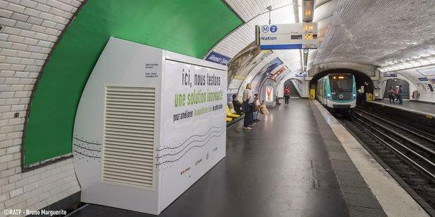 Cette solution technique offre la possibilité de traiter une grande quantité d'air (7500 m3/h, à savoir 10% de l'air de la station) en consommant l'électricité équivalente à celle d'un grille-pain, selon Suez.