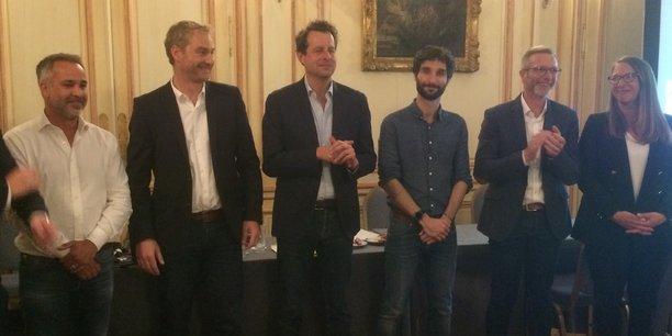 Le nouveau comité de pilotage : Julien Anselme (Orange), Guillaume-Olivier Doré (Mieuxplacer.com), Cyril Texier (Do you dream up),Bertrand Bussac (Le Wagon Bordeaux), David Babin (DMIC) et Hélène Desliens (Experteez)