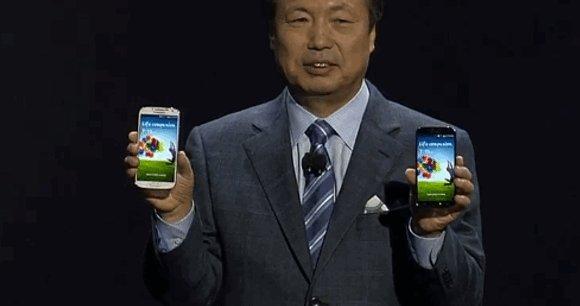Le Galaxy S IV présenté par J.K Shin, responsable du département mobile de Samsung / DR