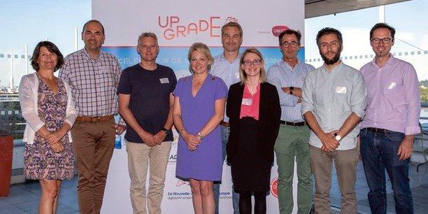 De gauche à droite : Perrine Laquèche (UpGrade), Laurent Sebag (App's miles), Michael Turbe (Marbotic), Anne-Laure Bedu (Région Nouvelle-Aquitaine), Guillaume-Olivier Doré, (Mieuxplacer.com), Maryne Cotty-Eslous (Lucine), François Le Tanneur (App's miles), Jonathan Azoulay (Talent.io), André Doumec (Meshroom VR).