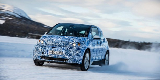 BMW i3 en tests hivernaux. Copyright BMW