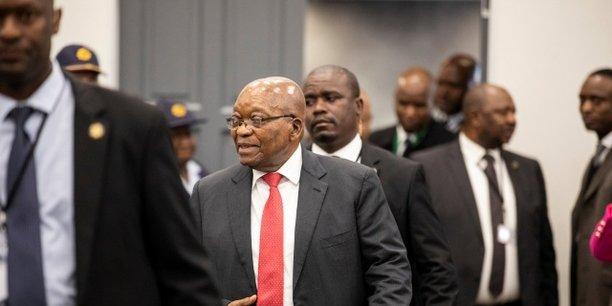 Lancien président sud-africain Jacob Zuma à son arrivée, ce lundi 15 juillet à Johannesburg, devant les membres de la commission d'enquête Zondo pour des faits présumés de corruption durant son mandant.