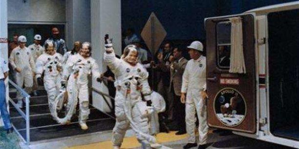 L'équipage d'Apollo 11 juste avant le décollage le 16 juillet 1969.