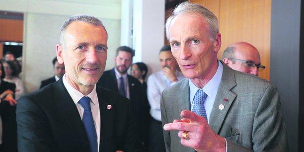 Jean-Dominique Senard (à dr.), coauteur du rapport préfigurateur de la loi Pacte, et Emmanuel Faber, PDG de Danone, ont porté la réforme du Code civil.