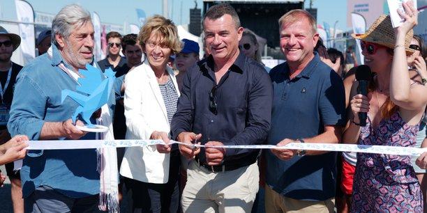 L'inauguration du French Fab Tour le 19 juillet au Cap d'Agde par Patrice Bégay, en présence du maire Gilles d'Ettore et l'acteur Jean-Pierre Castaldi.