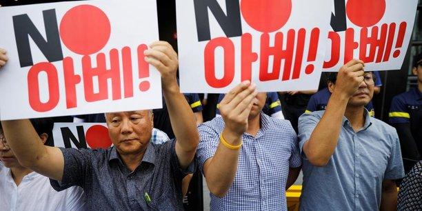 Manifestation devant l'ambassade du Japon à Séoul.