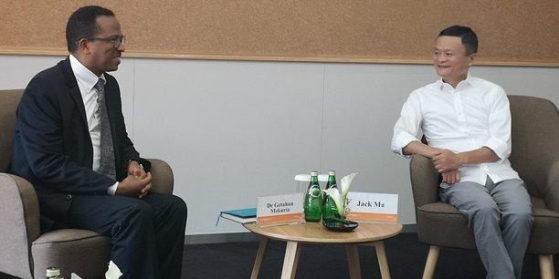 Getahun Mekuria, ministre éthiopien de l'Innovation et de la technologie, a rencontré Jack Ma au siège d'Alibaba mardi 13 août.