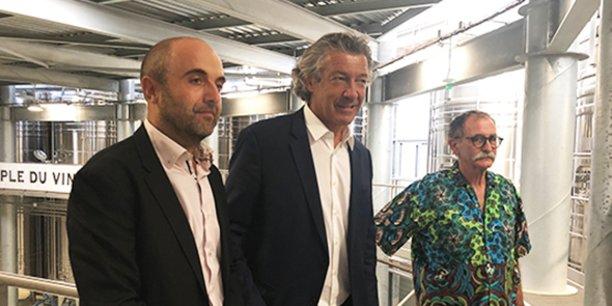 Frédéric Saccoman, nouveau directeur de la cave Héraclès, Gérard Bertrand et Jean-Fred Coste, président de la cave.