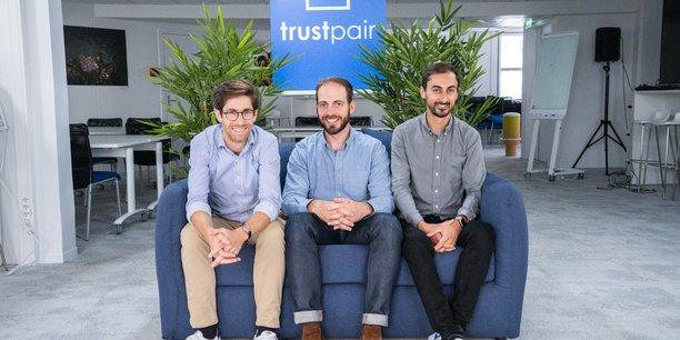 Les trois cofondateurs de Trustpair : Baptiste Collot, Alexandre Gillier et Simon Elcham.