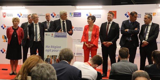 Hervé Morin, président de l'ARF, aux côtés de Carole Delga, présidente de la Région Occitanie, lors de la clôture de cette édition 2019