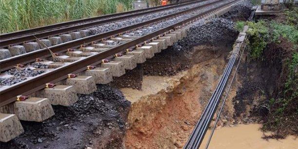 L'épisode méditerranéen du 23 octobre a causé d'importants dégâts sur les voies entre Montpellier et Béziers.