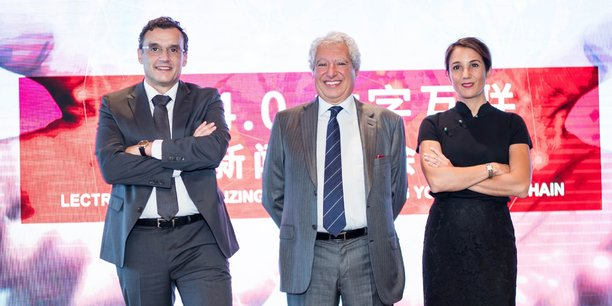 Javier Garcia, directeur Lectra Asie-Pacifique, Daniel Harari PDG du groupe, et Céline Choussy, directrice marketing et communication au Cisma 2019 (salon international dédié aux technologies du textile et de l'habillement) à Shanghai.
