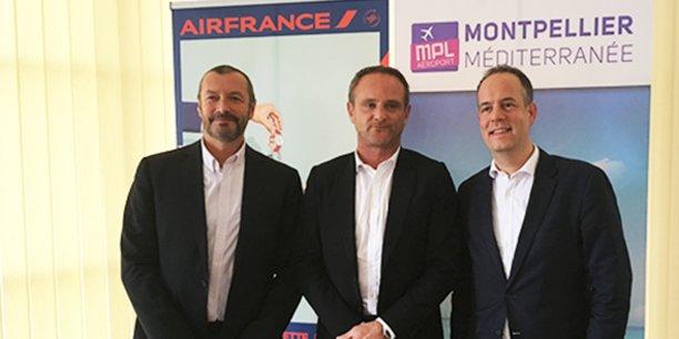 Bertrand Visconti (directeur des ventes d'Air France-KLM pour la région Sud), Emmanuel Brehmer (président du Directoire de l'aéroport de Montpellier), et Sébastien Guyot (directeur des ventes entreprises et agences France Air France).