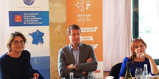 Yannick Jadot (EELV) était présent à Montpellier le 8 novembre 2019 pour soutenir les candidatures de Clothilde Ollier (à sa droite) et Agnès Langevine (à sa gauche) aux élections municipales de Montpellier et Perpignan.