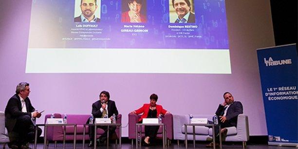 De gauche à droite : A. Rey (La Tribune), D. Restino (IME France), M.-H. Girbau-Grimoin (IDEE), et L. Duffault (Réseau Entreprendre).