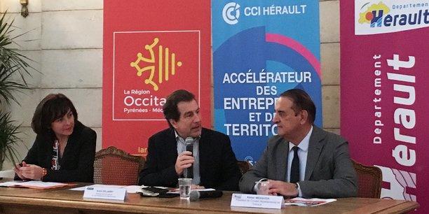 De gauche à droite : C. Delga (Région Occitanie), A. Deljarry (CCI 34) et K. Mesquida (Département de l'Hérault)