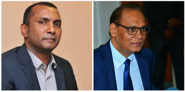 Renganaden Padayachy, nouveau ministre des Finances et du développement économique, et Mahen Seeruttun, ministre des Services financiers et de la bonne gouvernance de l'île Maurice.