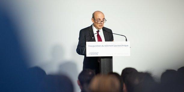Eric Trappier, PDG de Dassault Aviation, le mercredi 27 novembre pour l'inauguration des nouvelles installations pyrotechniques à Martignas-sur-Jalle.