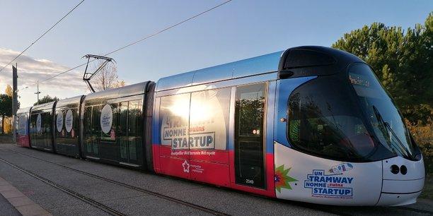 Le tramway privatisé pour UTNS, au départ de la station Mosson, le 27 novembre à Montpellier