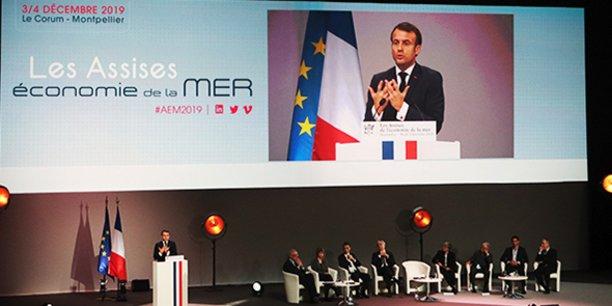 Emmanuel Macron a pris la parole à l'ouverture des Assises de l'économie de la mer à Montpellier, le 3 décembre 2019.