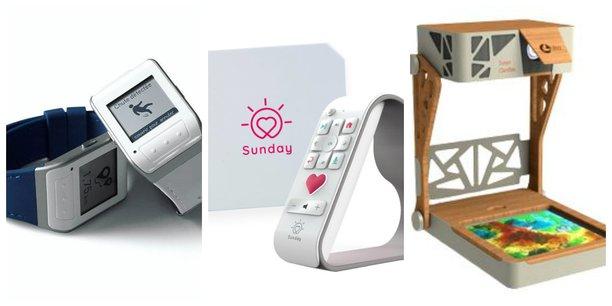 Les innovations développées en Nouvelle-Aquitaine pour le public senior par Vitalbase, Sunday Box et Ullo (de gauche à droite).