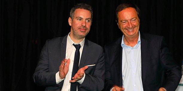 Laurent Villaret (président de la FPI Occitanie Méditerranée) et Michel-Edouard Leclerc (Pdg de l'enseigne E. Leclerc) à Montpellier le 17 décembre 2019.