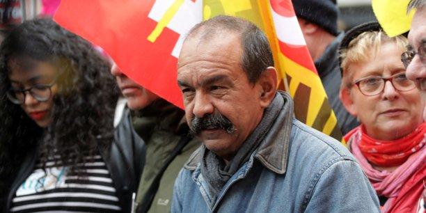 Philippe Martinez, leader de la CGT, lors d'une manifestation contre la réforme des retraites, le 24 septembre 2019, à Paris. La CGT fait partie des syndicats qui réclament le retrait du projet de système universel de retraite à points