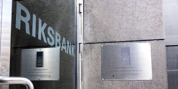 Entrée de la banque centrale de Suède, à Stockholm.