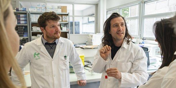 Maxime Feyeux et Kevin Alessandri, cofondateurs de Treefrog Therapeutics, une des startups innovantes portées par Aquitaine Science Transfert.