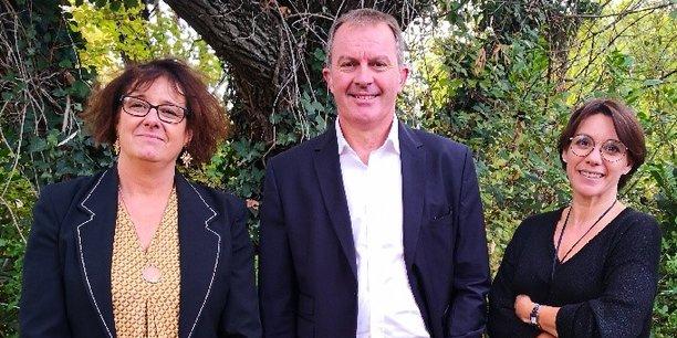 Séverine Garandeau-Martin (vice-présidente de Transitions Pro Occitanie), Eric Peytavin (président) et Christine Vo Van (directrice générale)