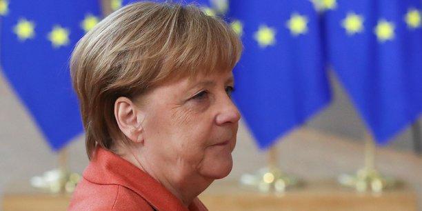 Arrivée d'Angela Merkel au sommet des leaders européens à Bruxelles, le 12 décembre 2019.