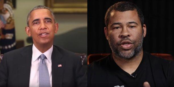 Dans cette vidéo, le comédien et réalisateur Jordan Peele (à droite) met en garde le public sur les dangers que représentent les deepfakes en truquant un discours de Barack Obama.