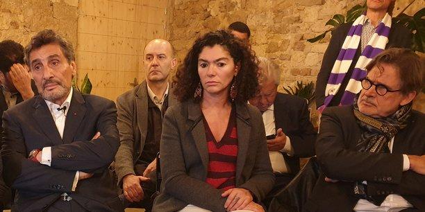 Mohed Altrad (à gauche), aux côtés d'Ariane Sultan et Jacques Touchon, membres de son comité de soutien